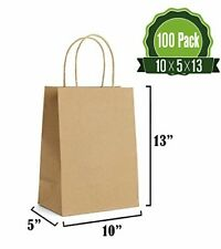 100 Counts Brown Kraft Paper Gift Bags Bulk with Handles for Shopping Packaging