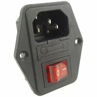 1 x On/Off 240V Inlet Switch Socket With Fuse - Ideal For Arcade Projects