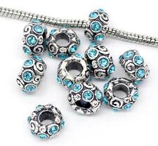 10 x antico con Strass Blu Distanziale Per European Charm Bracelets-wb0004