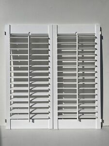 Pair Of White Plantation Window Shutters Inter Connecting Ex Showroom Display