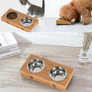 Dog Cat Pet Bamboo Bowls Stand Double Bowls Dish Food Water Bowl Food Feeding