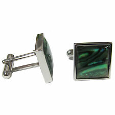 New Men's Cufflinks Cuff Link Square Wedding Formal Prom Paua Shell Green #09