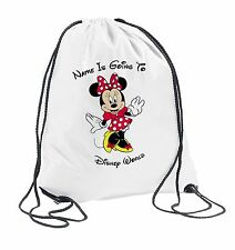 Minnie Mouse Personalised Drawstring Travel Bag Kids Girls Boys