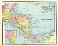 1895 Antique CENTRAL AMERICA Map Vintage Gallery Wall Art Home Decor 5647
