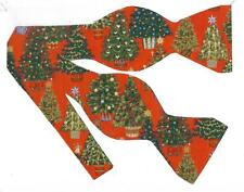 (1) BOW TIE- VINTAGE CHRISTMAS - DECORATED CHRISTMAS TREES ON RED