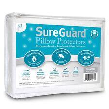 Set of 2 Standard Size SureGuard Pillow Protectors - 100% Waterproof, Bed Bug