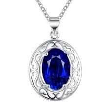 925 SILBER Kette Medallion Halsketten Anhänger Zirkonia  Damen Collier Kristall