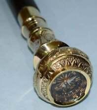 Gentleman's/Ladies Travelers Top Compass Handle Walking Stick Brass Walking Cane