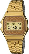 Casio Basic Men's Digital Retro Watch in Gold A159WGEA-9AEF Gold Checkered Dial