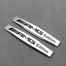 2Pcs Chrome AMG Edition Metal Emblem Side Wing Fender Sport Badge Sticker Decal
