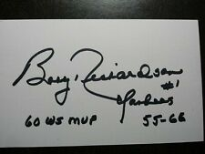BOBBY RICHARDSON Authentic Hand Signed Autograph 3X5 INDEX CARD - NY YANKEES