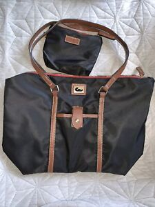 Beautiful Dooney & Bourke D & B Black Nylon Brown Leather Shoulder Bag