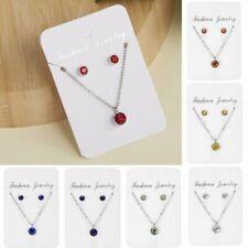 Women Zircon Pendant Necklace Earrings Jewelry Set Rhinestone Ear Stud Fashion