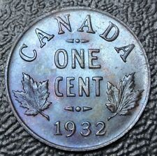 OLD CANADIAN COIN 1932 - ONE CENT - George V - Gorgeous Coin - TONING