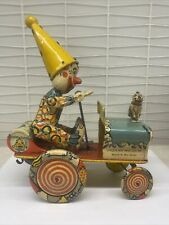Artie the Clown Tin Wind Up Litho Adorned Jeep Car Unique Art MFG CO Awesome Toy