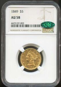 1849 $5 Gold Liberty Half Eagle AU 58 CAC NGC, Near Mint Very PQ!