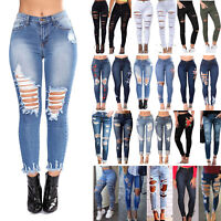 Womens Stretch Ripped Denim Jeans Slim High Waisted Pencil Ankle Pants Trousers