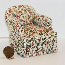 Dollhouse Miniature Comfy Upholstered Chair in Orange & Yellow Floral Design .
