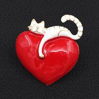 Betsey Johnson Red Enamel Big Love Heart Cute Cat Kitten Charm Brooch Pin Gift
