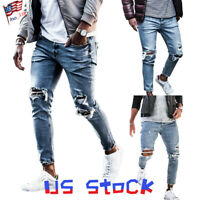 Men's Ripped Skinny Jeans Frayed Slim Fit Denim Pencil Pants Stretch Casual US