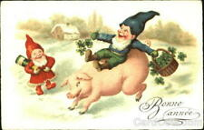 Pig Bonne Annee Antique Postcard Vintage Post Card