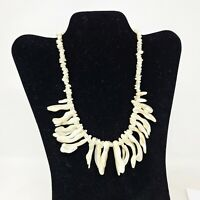 1950s Natural White Stick Freshwater Pearl Necklace Mother of Pearl Statement