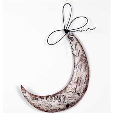 "K&K Primitive Vintage Style  14"" Tin Halloween Hanging Moon"