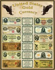 """United States Gold Coin Currency from the  1800's 16"""" X 20"""" Poster"""