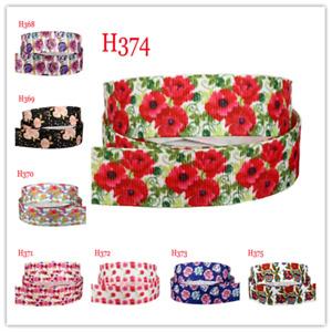 7/8'' Floral Ribbon Flower Print 22mm Grosgrain Satin DIY Hair Bow Craft 5/10 ya