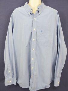 IZOD - Mens XXLT 2XLT Blue Plaid Button Front Cotton Dress Casual Shirt LS