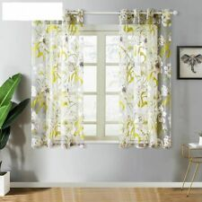 Short Tulle Tropical Floral Sheer Curtains For Living Room Kitchen Bath RoomDoor