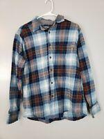 Eddie Bauer Men's Button Down Shirt Size Large Blue Plaid Long Sleeve Flannel