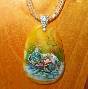 Pendant girls on the boat waterlily pond Genuine Hand painted STONE signed GIFT