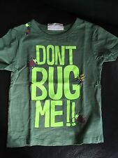 T Shirt manches courtes vert / Dessin Insectes  / Taille 2-3 Ans