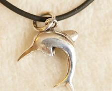 Süßer Anhänger Silber glänzend Delfin mit  Kautschuk-Kette Kettenahänger Tier