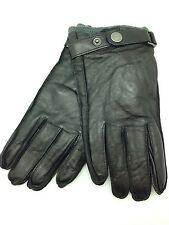 New Calvin Klein Mens Leather Classic Dark Brown Winter Gloves M Strap Hand