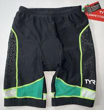 "TYR Men's Medium Black Green Yellow 9"" Shorts Triathlon Exercise COMPETITOR New"