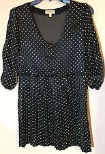 Simply Princess Vera Wang Short Dress Size 3 Black Sheer Back Lime Polka Dots