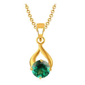 14KT Gold / 1.20Ct Round Cut 100% Natural Zambian Green Emerald Women's Pendant