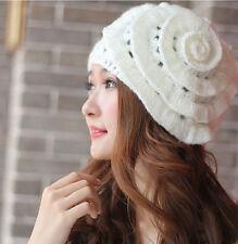 New Winter Warm Women Beret Braided Knit Crochet Baggy Beanie Flower Hat Ski Cap