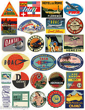 Vintage Hotel Luggage Label Stickers - Pack of 25 Suitcase Travel Decals