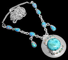 16g Larimar - Dominican Republic & Fire Opal 925 Silver Necklace Jewelry SN17382