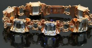Heavy antique 18K 2-tone gold 25.0CT aquamarine floral ribbon bracelet