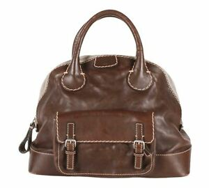 Authentic Chloe Edith Large Bowler Satchel Bag Dark Brown