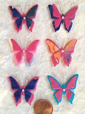 12 Butterflies butterfly Mulberry Paper Batik blue fuchsia pink Handmade crafts