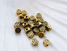 50 x Tibetan Silver Flower Beads 6mm Antique Gold Lead Free, Roses Flowers