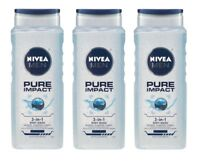 Pack of 3 NIVEA Men Body Wash Pure Impact 3-in-1 Shower Shampoo 16.9 fl oz EACH