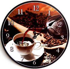 Wanduhr Küchenuhr Design Black Coffee Nostalgie rund shabby Uhr retro Kaffee