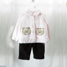 Pink Fleece Long Sleeve with Bear Pockets and Black Fleece Pants 6-9M