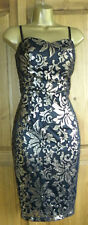 NEXT OCCASION PARTY BODYCON BLACK GOLD FLORAL BEADED MINI DRESS SIZE UK 8